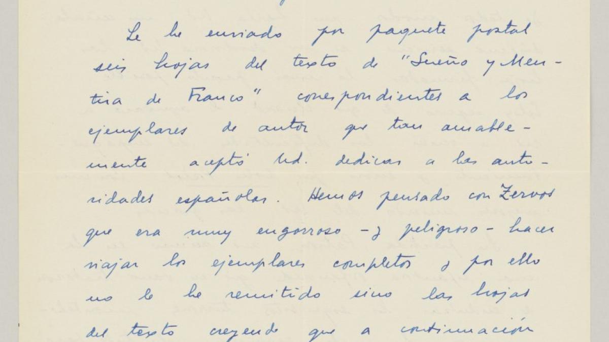 Carta de Juan Larrea a Pablo Picasso del 6 de agosto de 1937