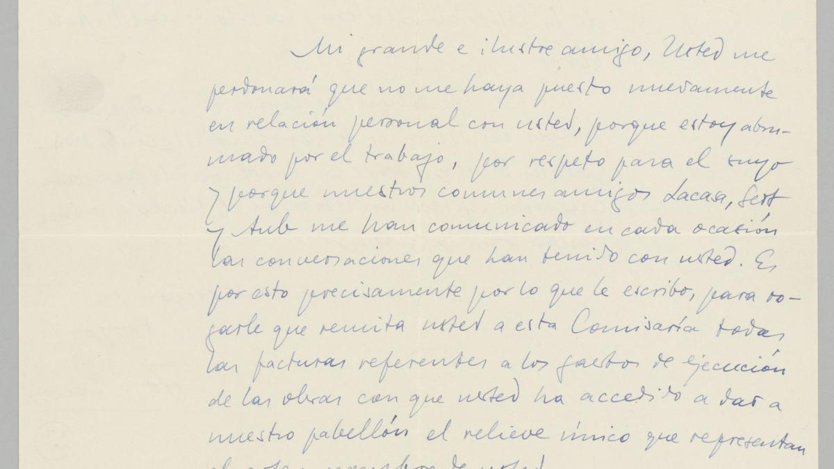 José Gaos's letter to Pablo Picasso
