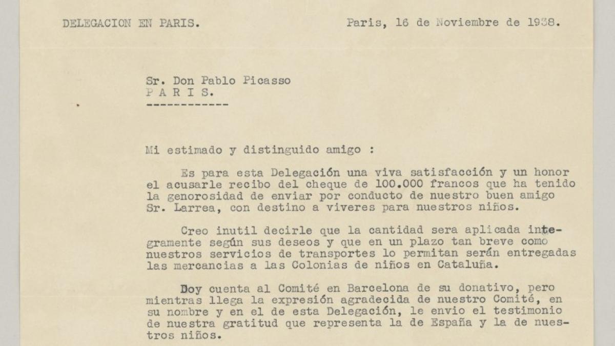 Carta de Victoria Kent a Pablo Picasso