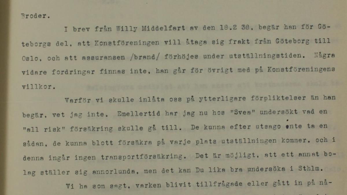 Correspondencia entre Liljevalchs Konsthall de Estocolmo y otras instituciones
