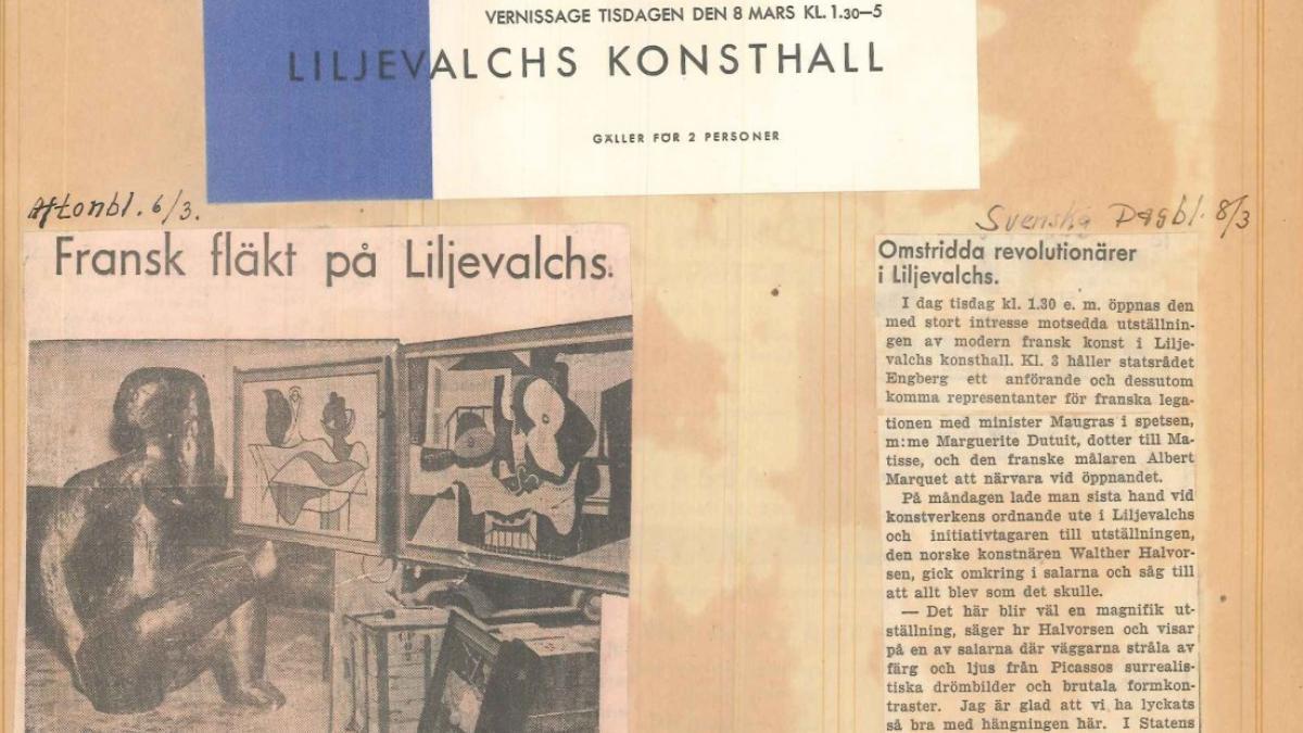 Recortes de prensa de la exposición Henri Matisse, Picasso, G. Braque, Laurens en el Liljevalchs Konsthall