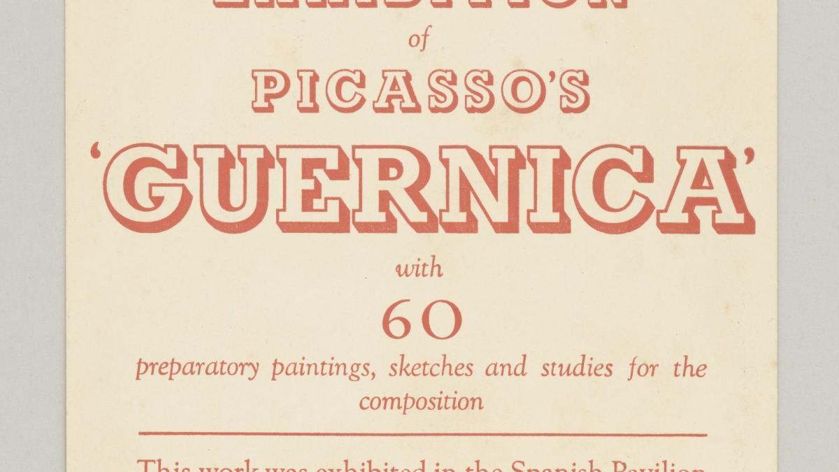 Invitation card to Picasso's Guernica, New Burlington Galleries