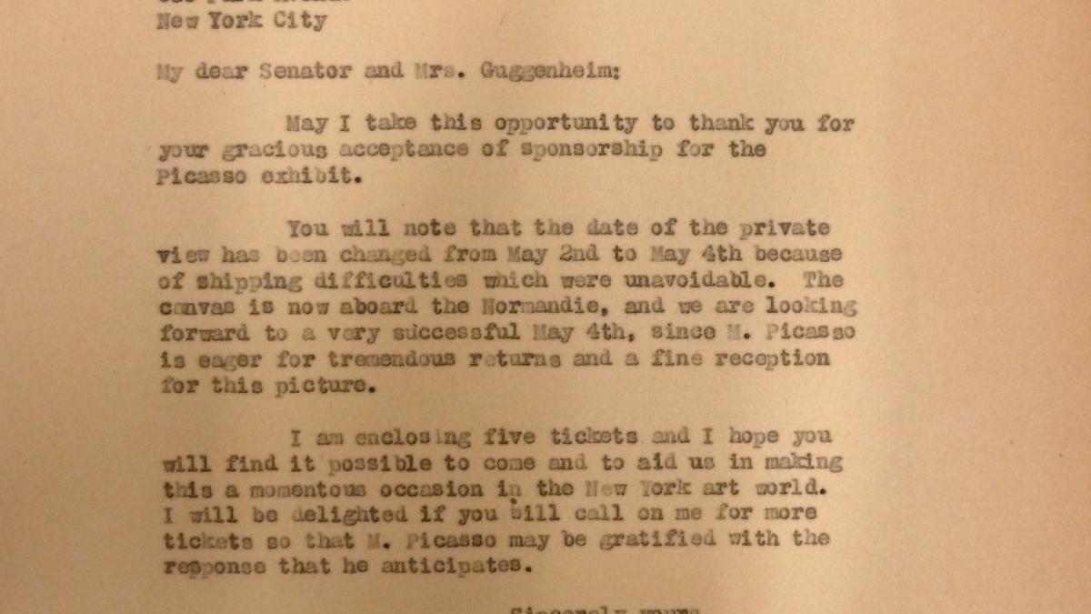 Carta de Sidney Janis a Simon Guggenheim