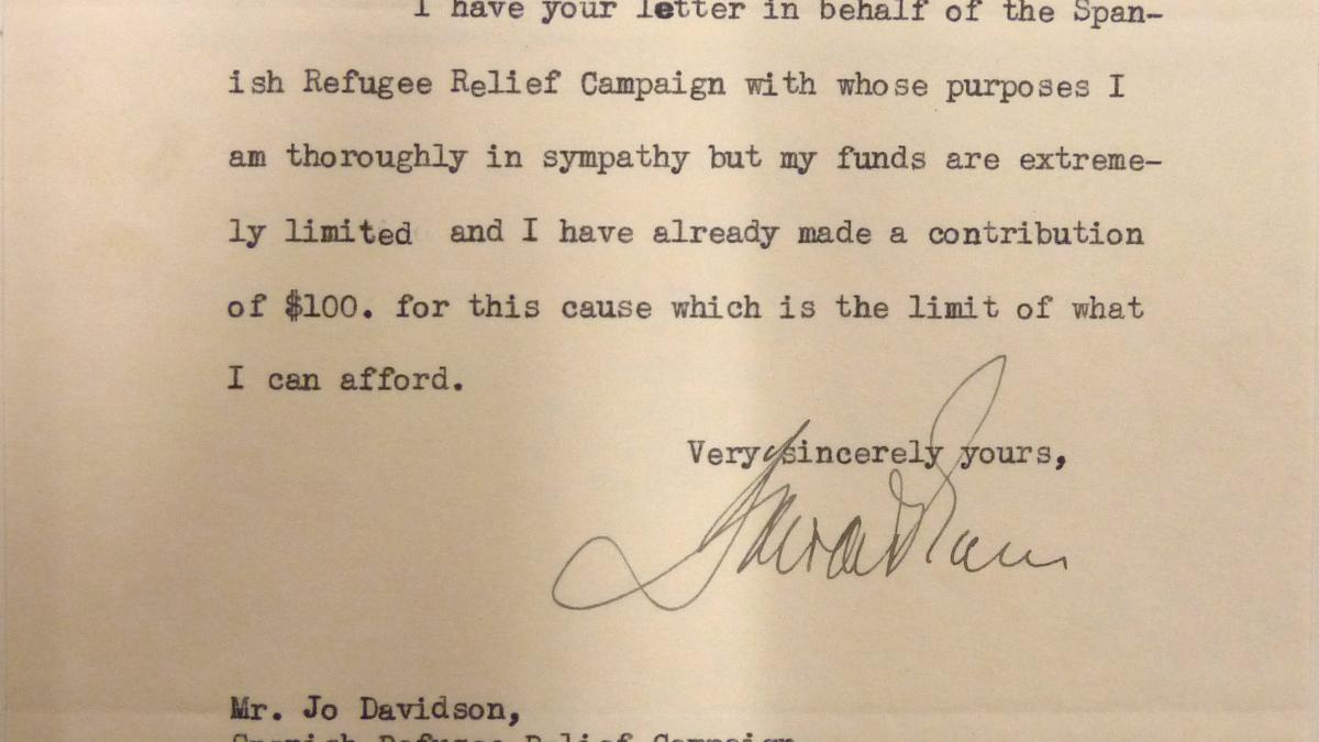 Carta de Howard S. Gans a Jo Davidson