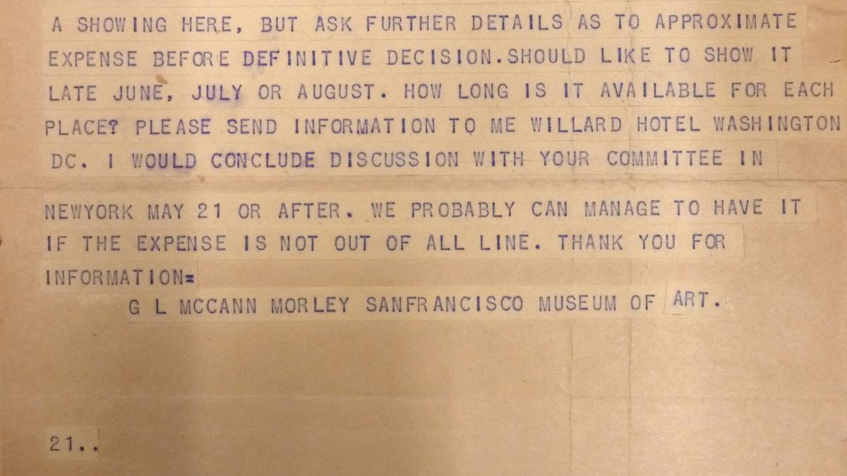 Telegrama de Grace L. McCann Morley a Sidney Janis