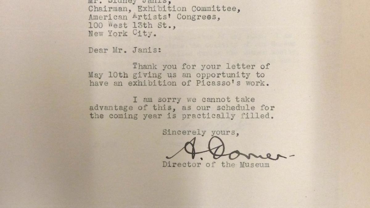 Carta de Alexander Dorner a Sidney Janis