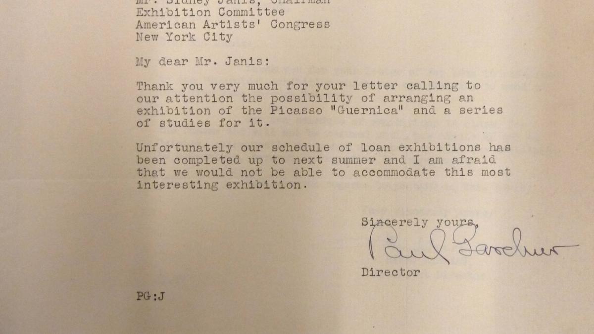 Paul Gardner's letter to Sidney Janis