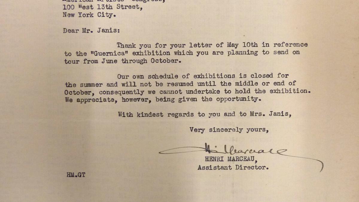 Carta de Henri Marceau a Sidney Janis