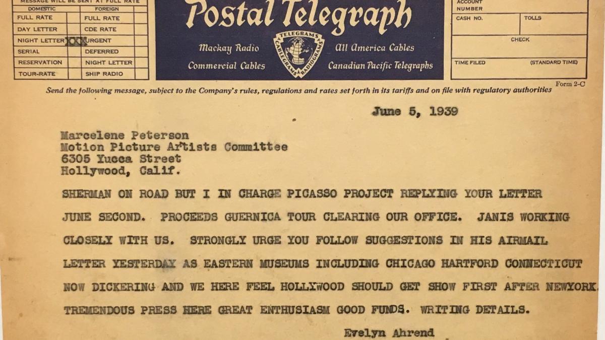 Telegrama de Evelyn Ahrend a Marcelene Peterson del 5 de junio de 1939