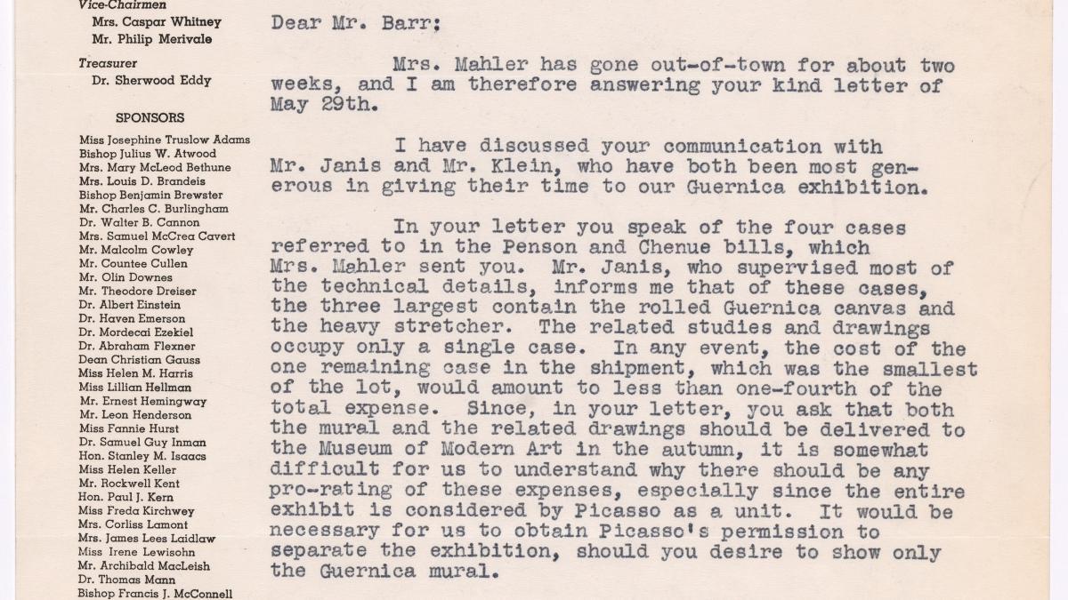 Carta de Evelyn Ahrend a Alfred H. Barr Jr. del 5 de junio de 1939