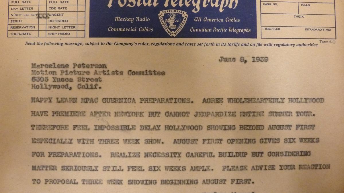 Telegrama de Evelyn Ahrend a Marcelene Peterson