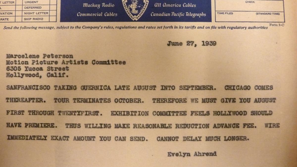Telegrama de Evelyn Ahrend a Marcelene Peterson del 27 de junio de 1939