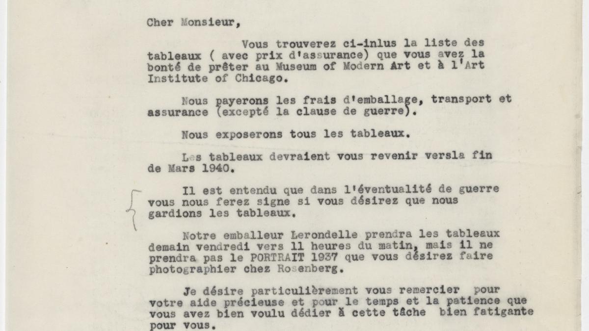Carta de Alfred H. Barr Jr. a Pablo Picasso del 6 de julio de 1939