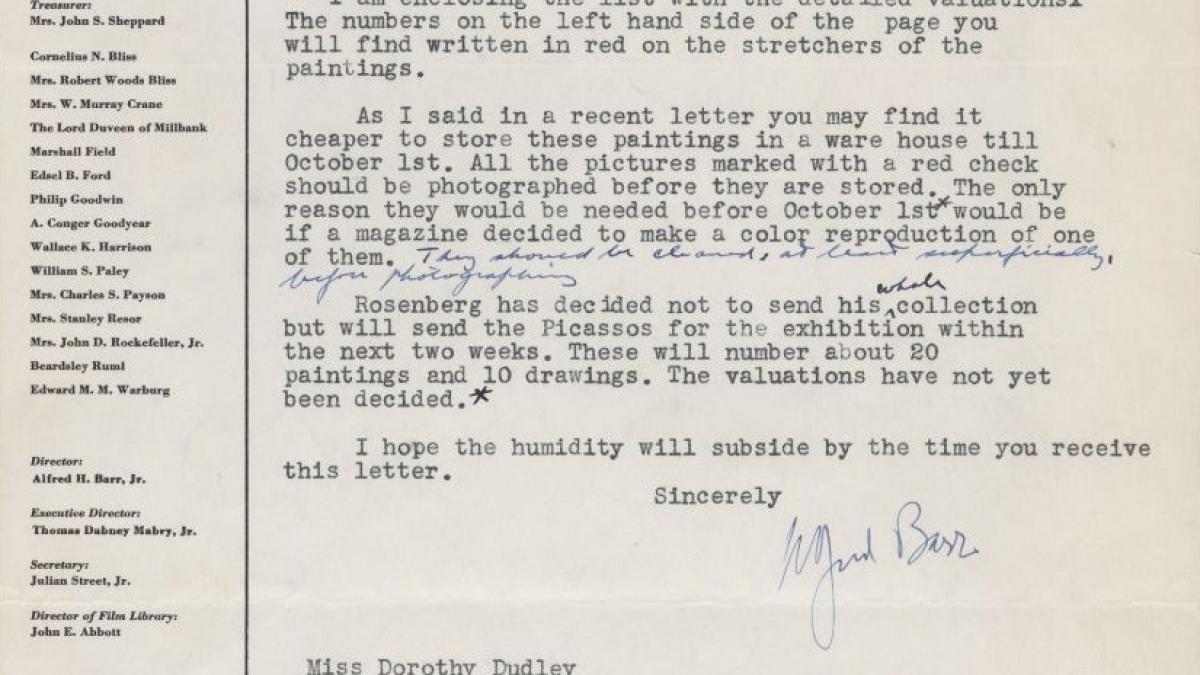 Carta de Alfred H. Barr Jr. a Dorothy Dudley
