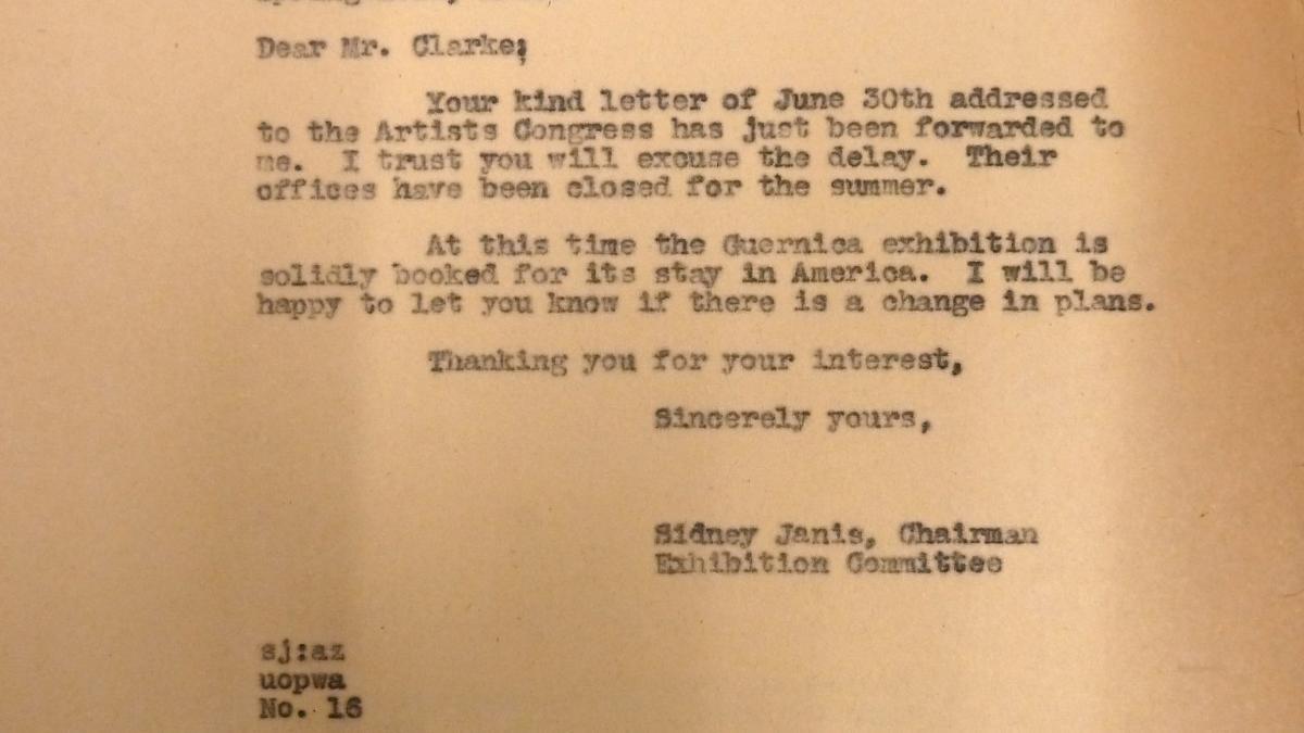 Carta de Sidney Janis a John Lee Clarke