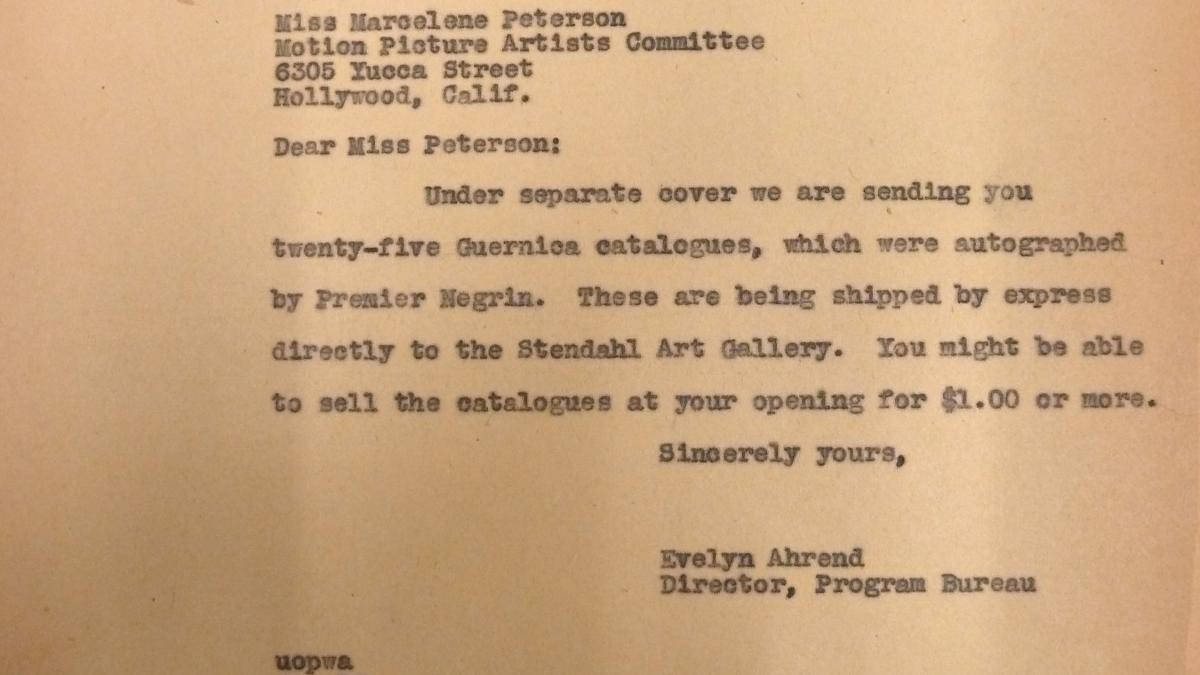 Carta de Evelyn Ahrend a Marcelene Peterson del 26 de julio de 1939