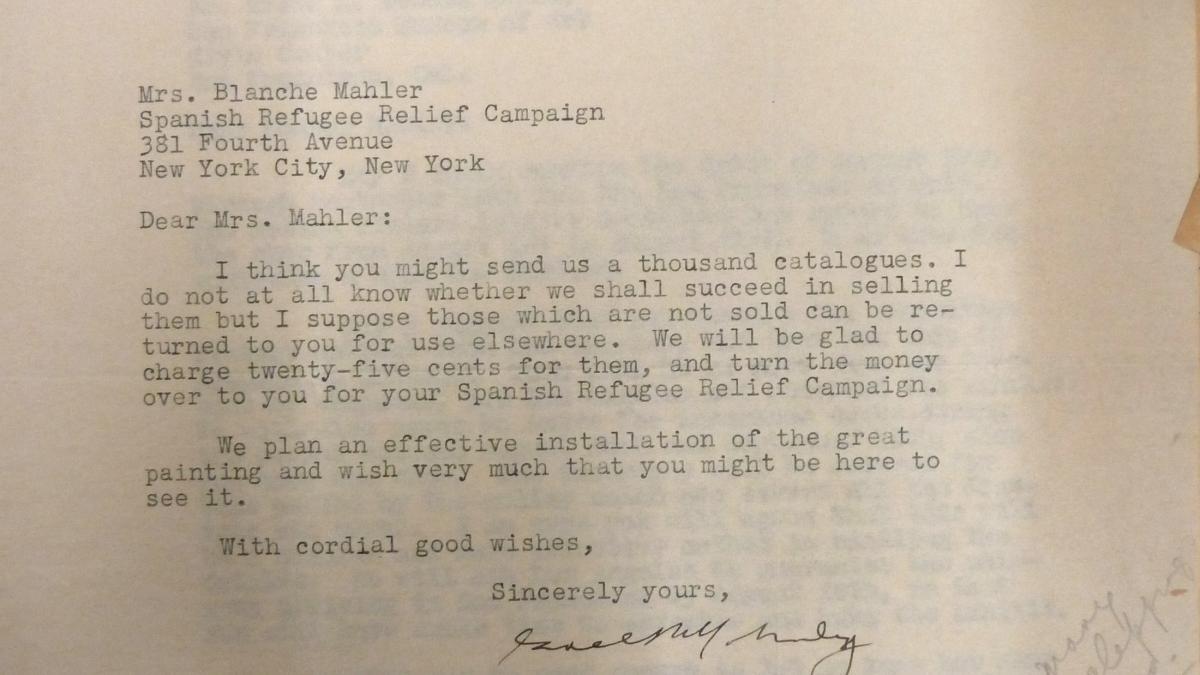 Carta de Grace L. McCann Morley a Blanche Mahler