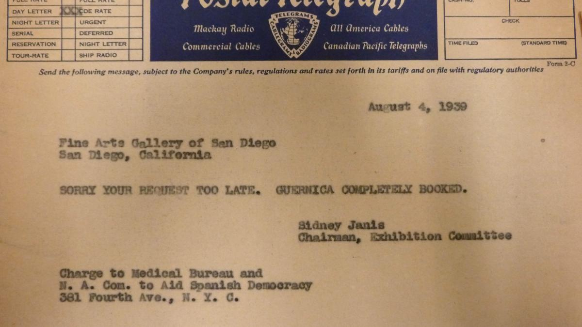 Sidney Janis's telegram to the FIne Arts Gallery of San Diego