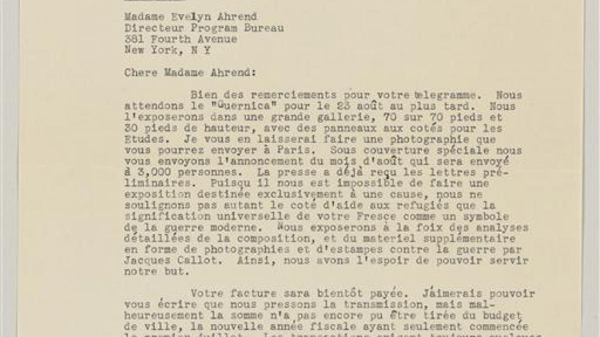 Carta de Evelyn Ahrend a Grace L. McCann Morley del 21 de agosto de 1939