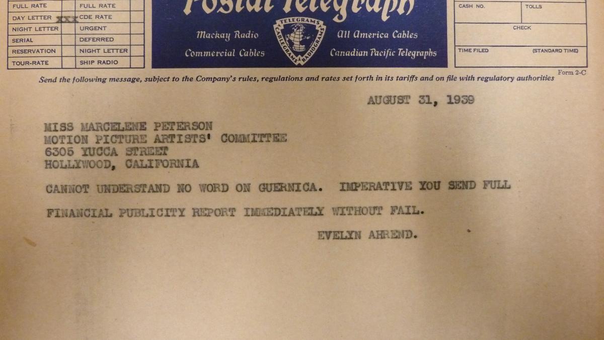 Telegrama de Evelyn Ahrend a Marcelene Peterson del 31 de agosto de 1939