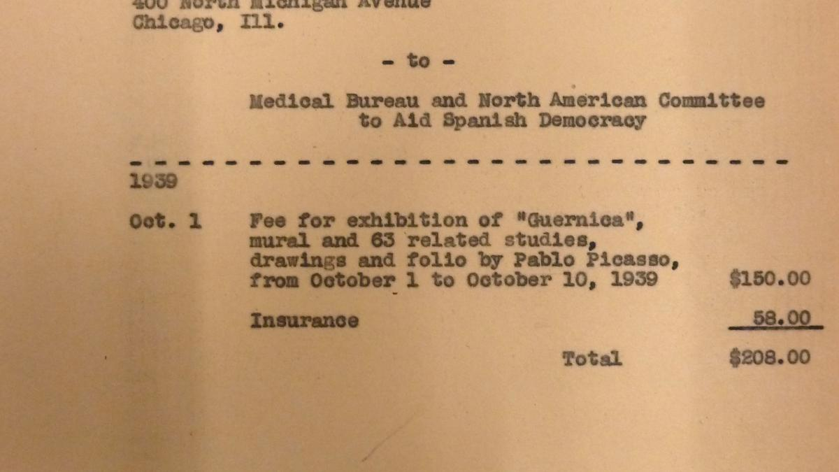 Invoice for the exhibition Picasso's Guernica
