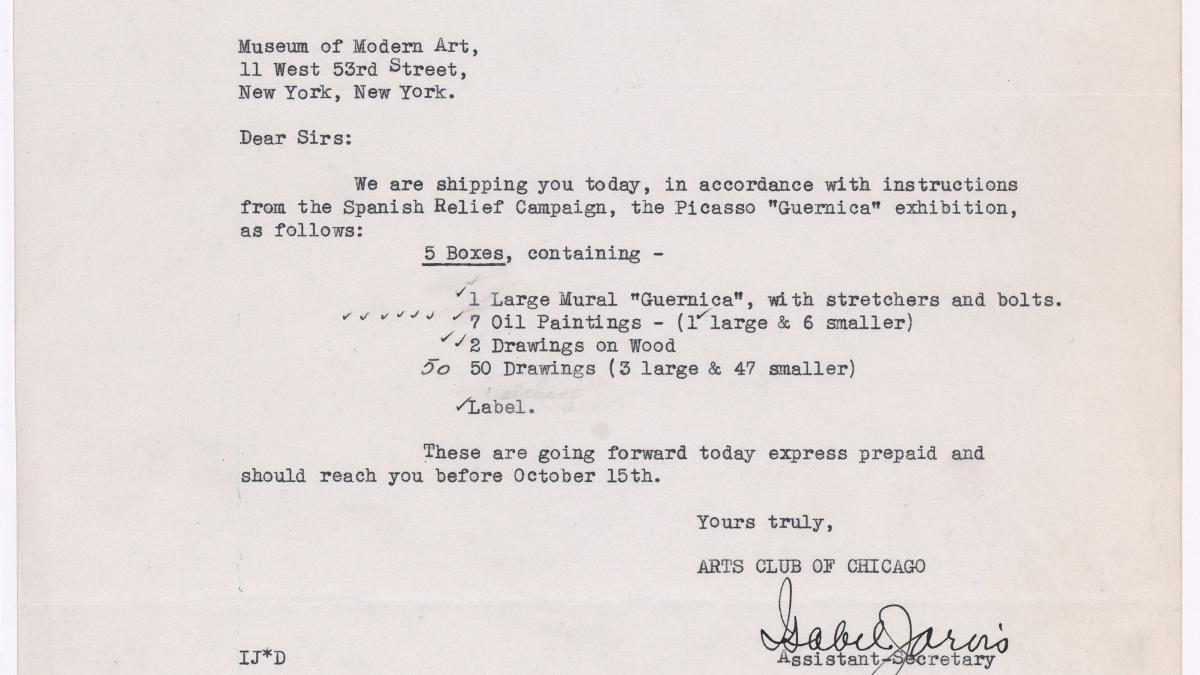 Carta de Isabel JarvisalMuseum of Modern Art de Nueva York