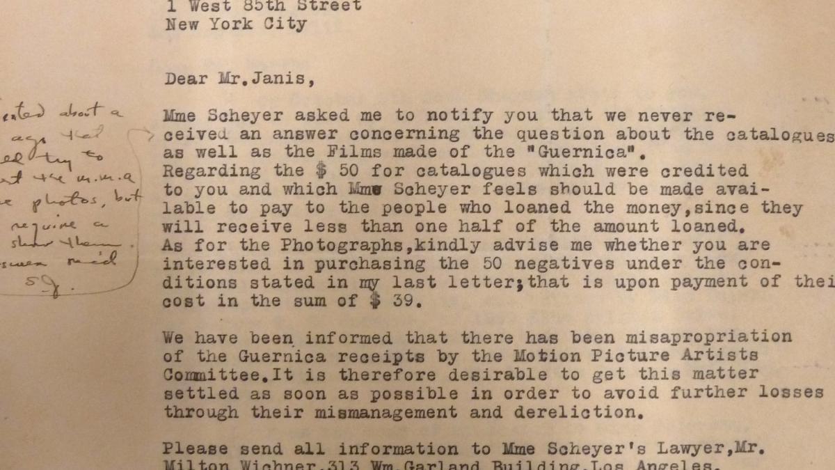 Carta de H. Heyman y G. E. Scheyer a Sidney Janis