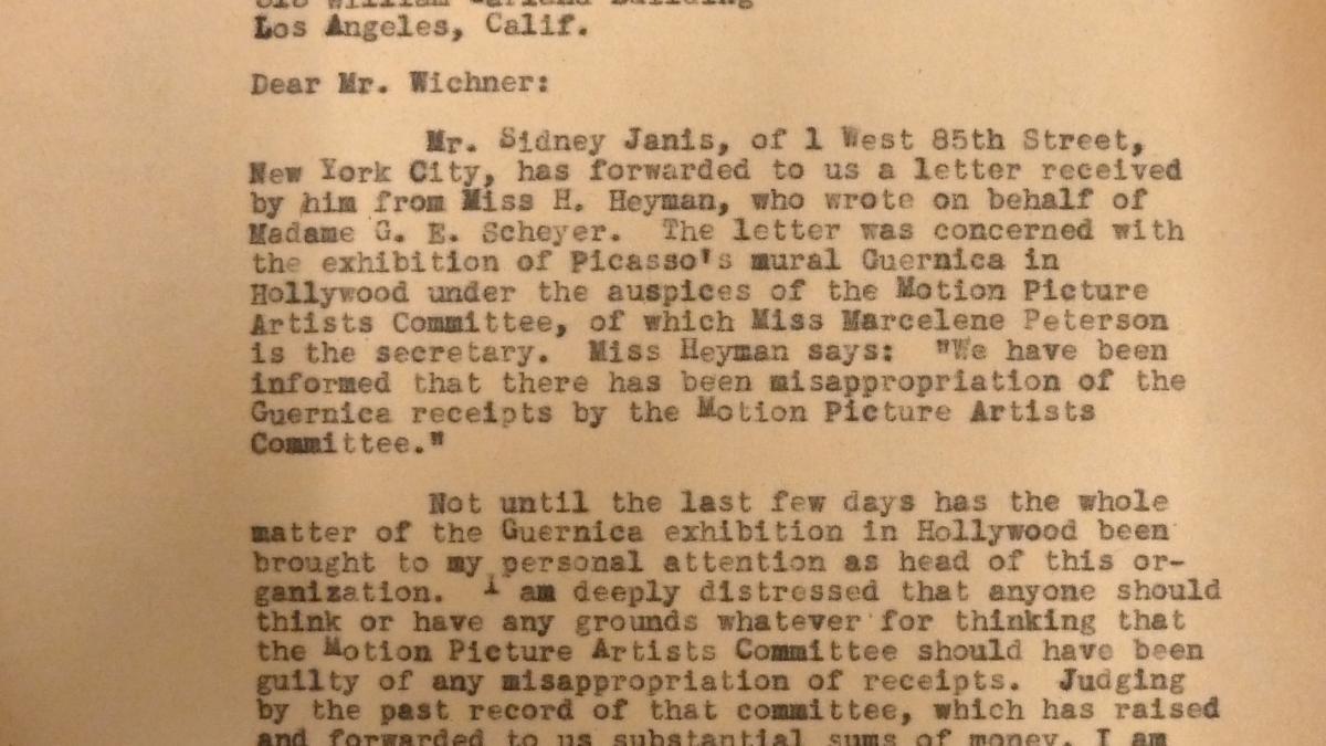 Carta de Herman F. Reissig a Milton Wichner