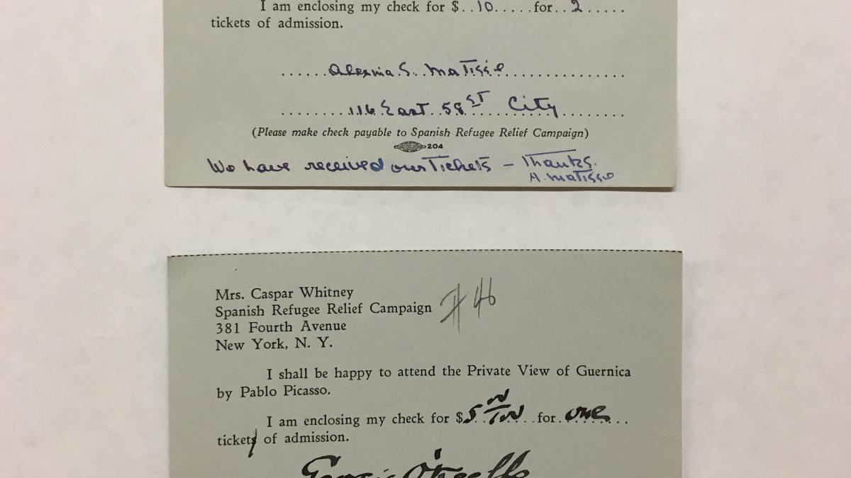 Tarjetas de Alfred H. Barr Jr., Aleksina Matisse, Georgia O'Keefe y Sidney Janis a Caspar Whitney