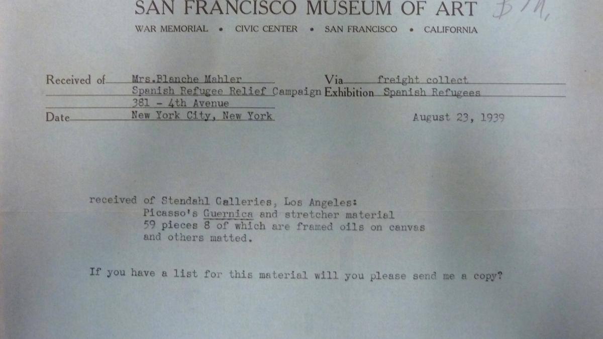 Acta de entrega de Guernica y otros materiales enviados por la Spanish Refugee Relief Campaign al San Francisco Museum of Art