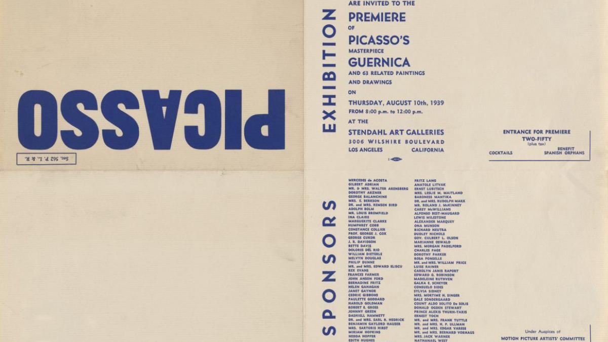 Invitación a la inauguración de la exposición Picasso's Masterpiece. Guernica and 63 related paintings and drawings en Stendahl Art Galleries