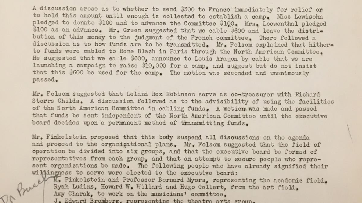 Minutes from the meeting of the Executive Committee of the  Spanish Intellectual Aid Association, dated 24 March 1939