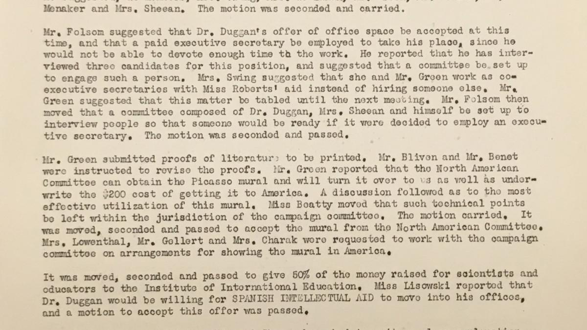 Minutes from a meeting of the Executive Committee of the  Spanish Intellectual Aid Association, dated 30 March 1939