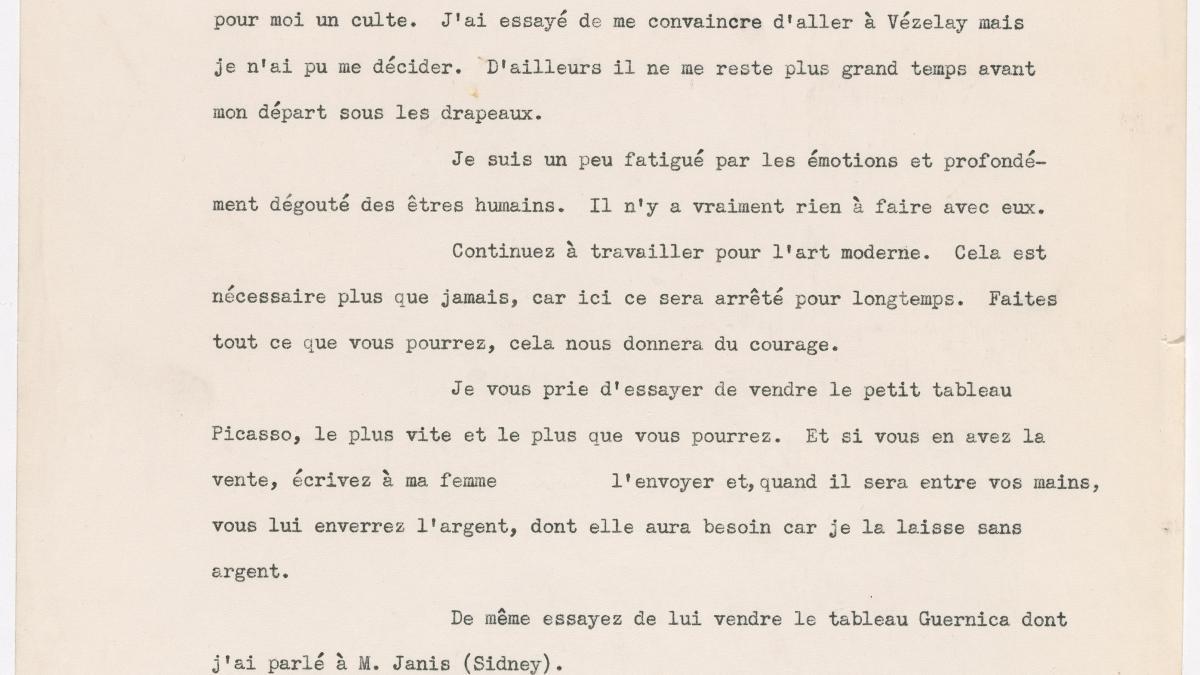 Carta de Christian Zervos a Alfred H. Barr Jr. del 6 de septiembre de 1939