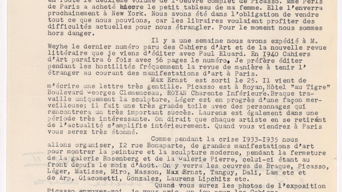 Carta de Christian Zervos a Alfred H. Barr Jr. del 27 de diciembre de 1939