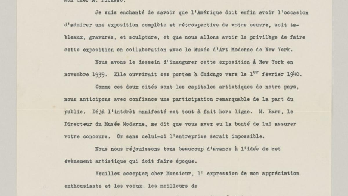 Carta de Daniel Cattou Rich a Pablo Picasso