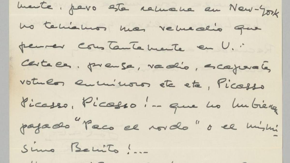 Josep Lluís Sert's letter to Pablo Picasso, dated 20 November 1939