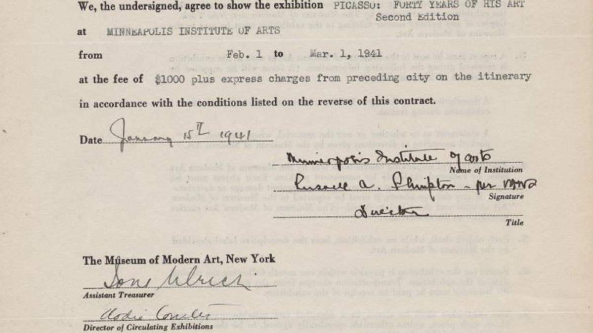 Contrato de la exposición itinerante Picasso: Forty Years of His Art entre el Museum of Modern Art y el Minneapolis Institute Of Arts