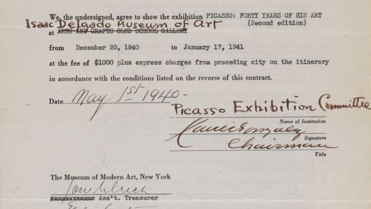 Contrato de la exposición itinerante Picasso: Forty Years of His Art (second edition)entre el Museum of Modern Art y el Isaac Delgado Museum of Art de Nueva Orleans