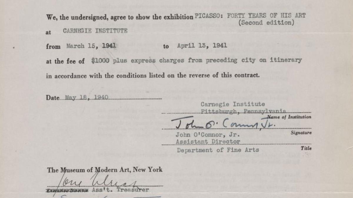 Contrato de la exposición itinerante Picasso: Forty Years of His Art (second edition)entre el Museum of Modern Art y el Carnegie Institute