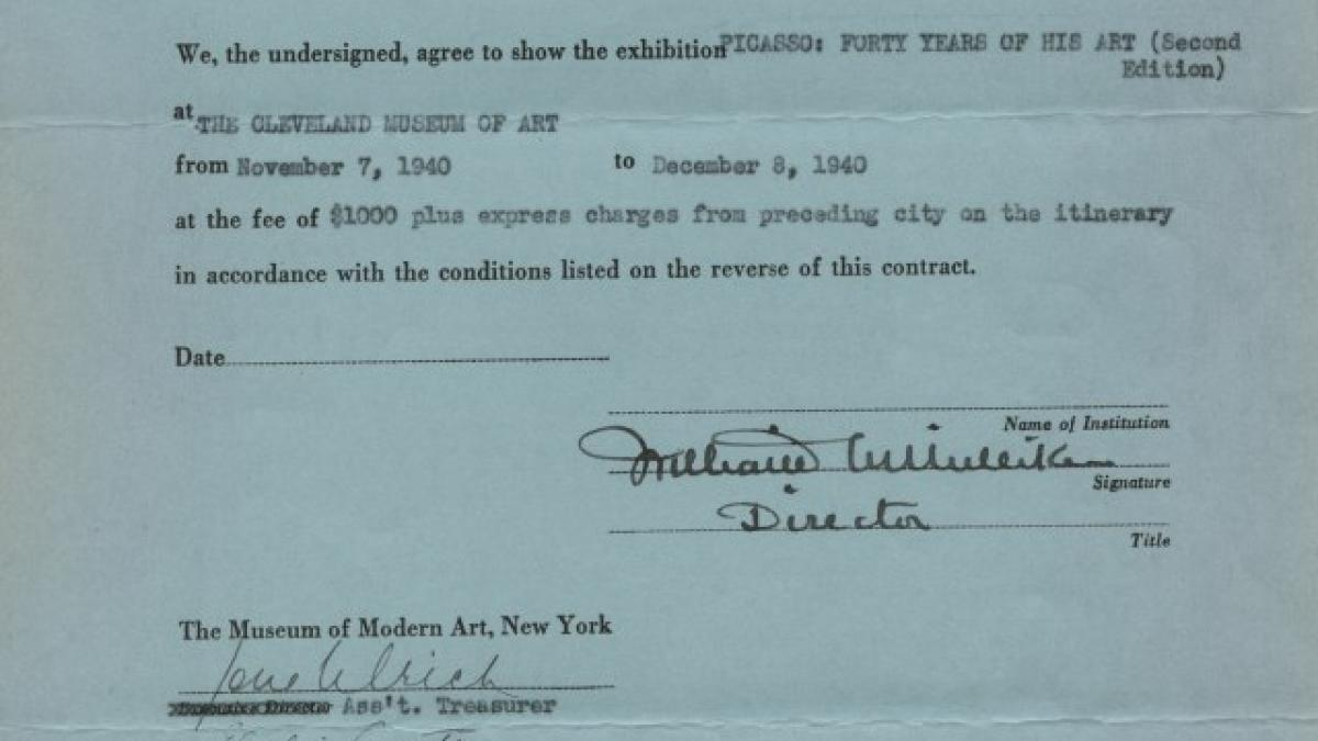 Circulating exhibition contract for Picasso: Forty Years of His Art (second edition), between the Museum of Modern Art, New York, and the Cleveland Museum of Art