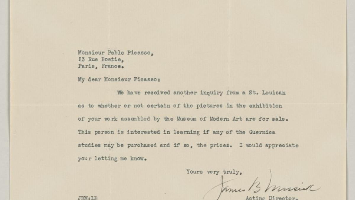 Carta de James B. Musick a Pablo Picasso del 16 de abril de 1940