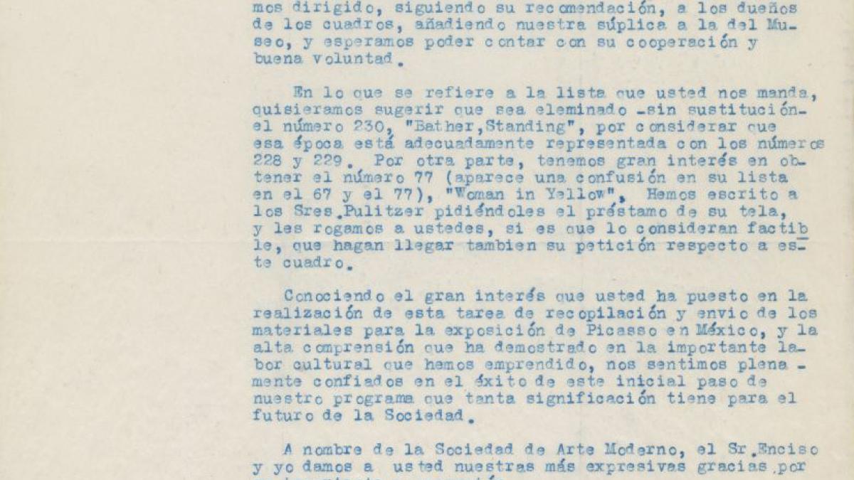 Carta de Susana Gamboa a Luis de Zulueta