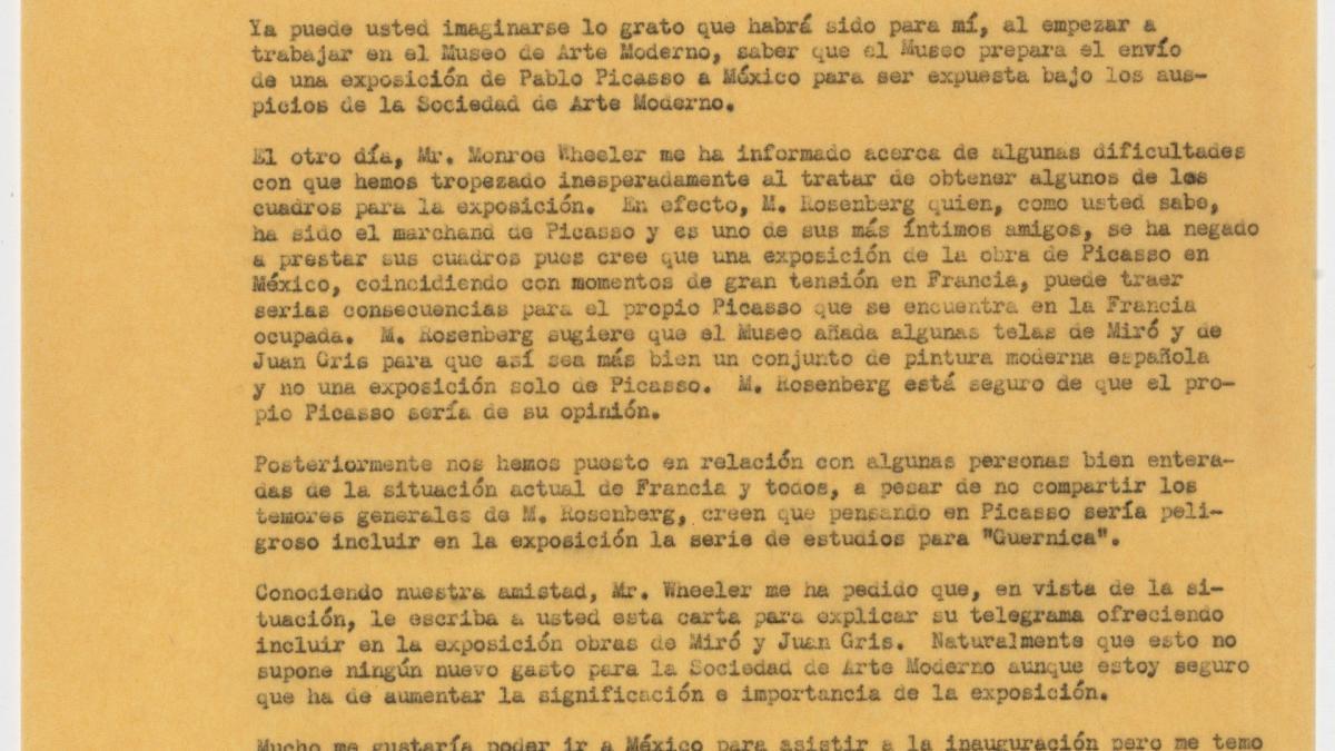 Carta de René D'Harnoncourt a Jorge Enciso