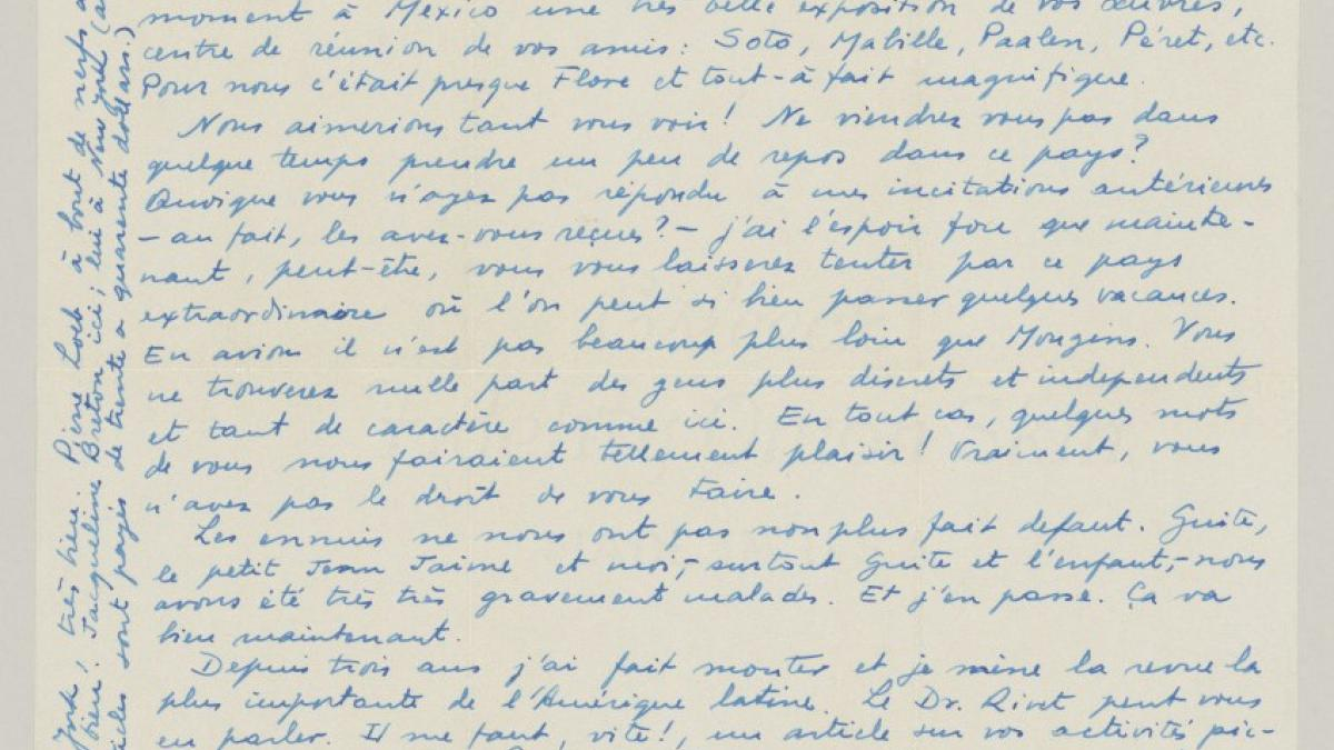 Juan Larrea's letter to a Pablo Picasso, dated 24 September 1944