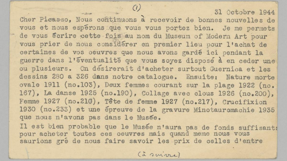 Tarjetas postales de Alfred H. Barr Jr. a Pablo Picasso
