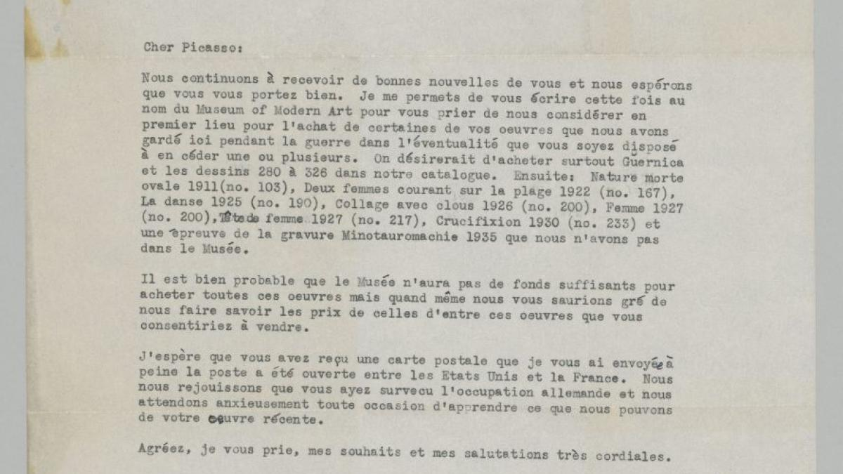 Alfred H. Barr Jr.'s letter to Pablo Picasso, dated 4 November 1944