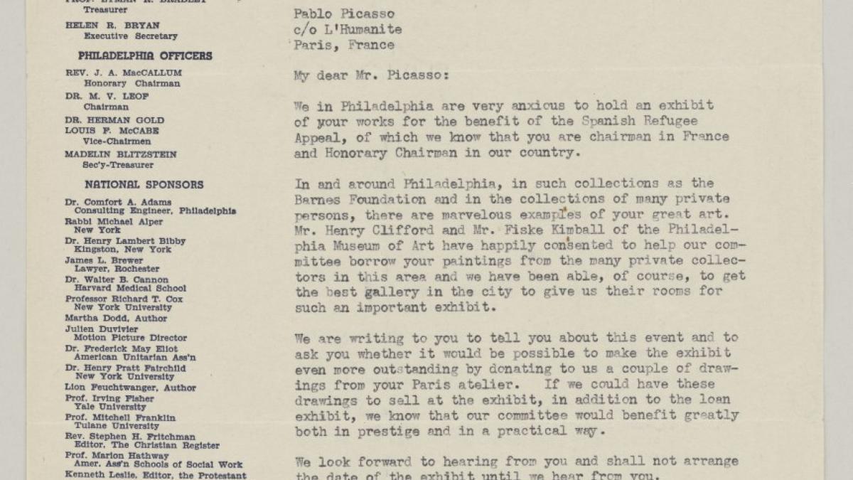 Carta de la Madelin Blitzstein a Pablo Picasso