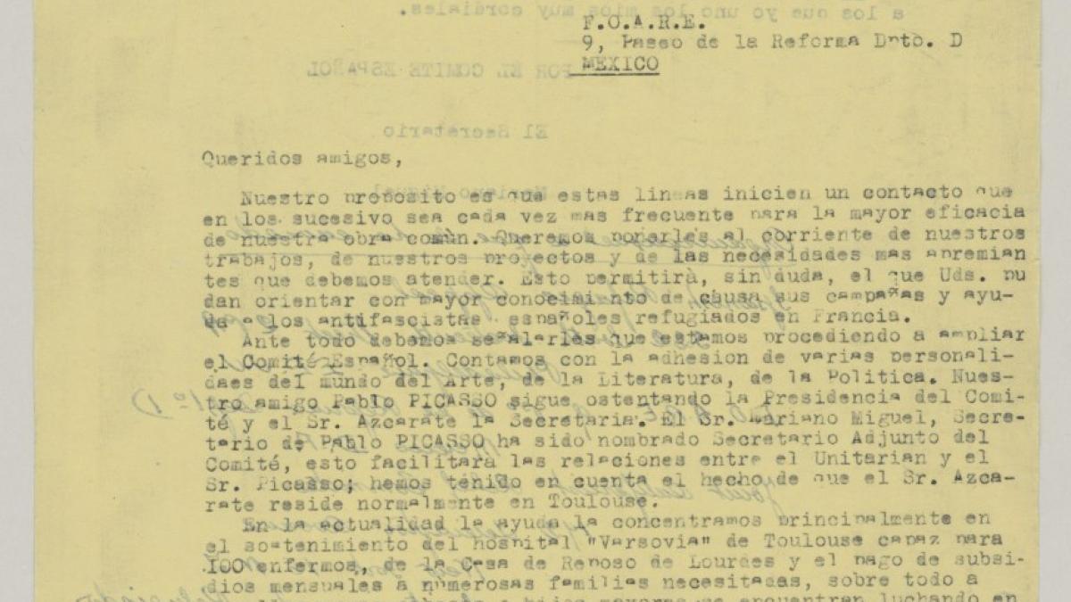 Carta de Mariano Miguel a F.O.A.R.E.