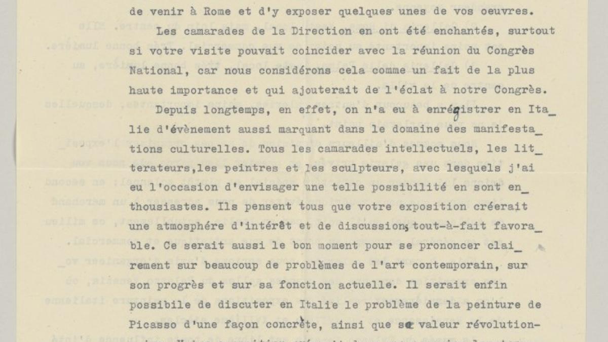 Carta de Claude Jaeger a Pablo Picasso con carta adjunta de Celeste Negarville